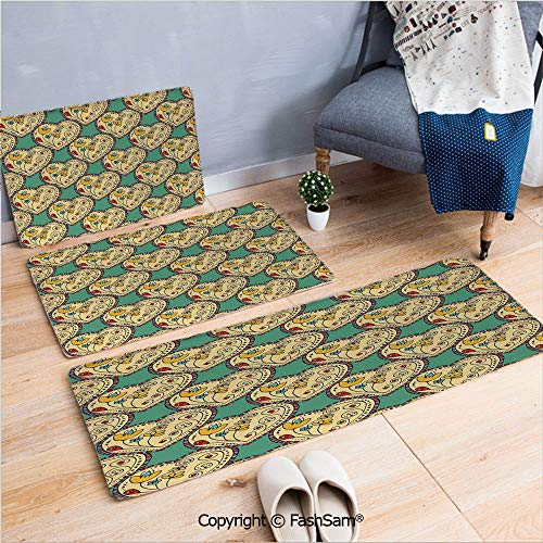 (3 Piece Flannel Bath Carpet Non Slip Pattern with Swirling Tulip in Hearts Doodle Style Floral Ornamental Artwork Print Front Door Mats Rugs for Home(W15.7xL23.6 by W19.6xL31.5 by W15.7xL39.4))