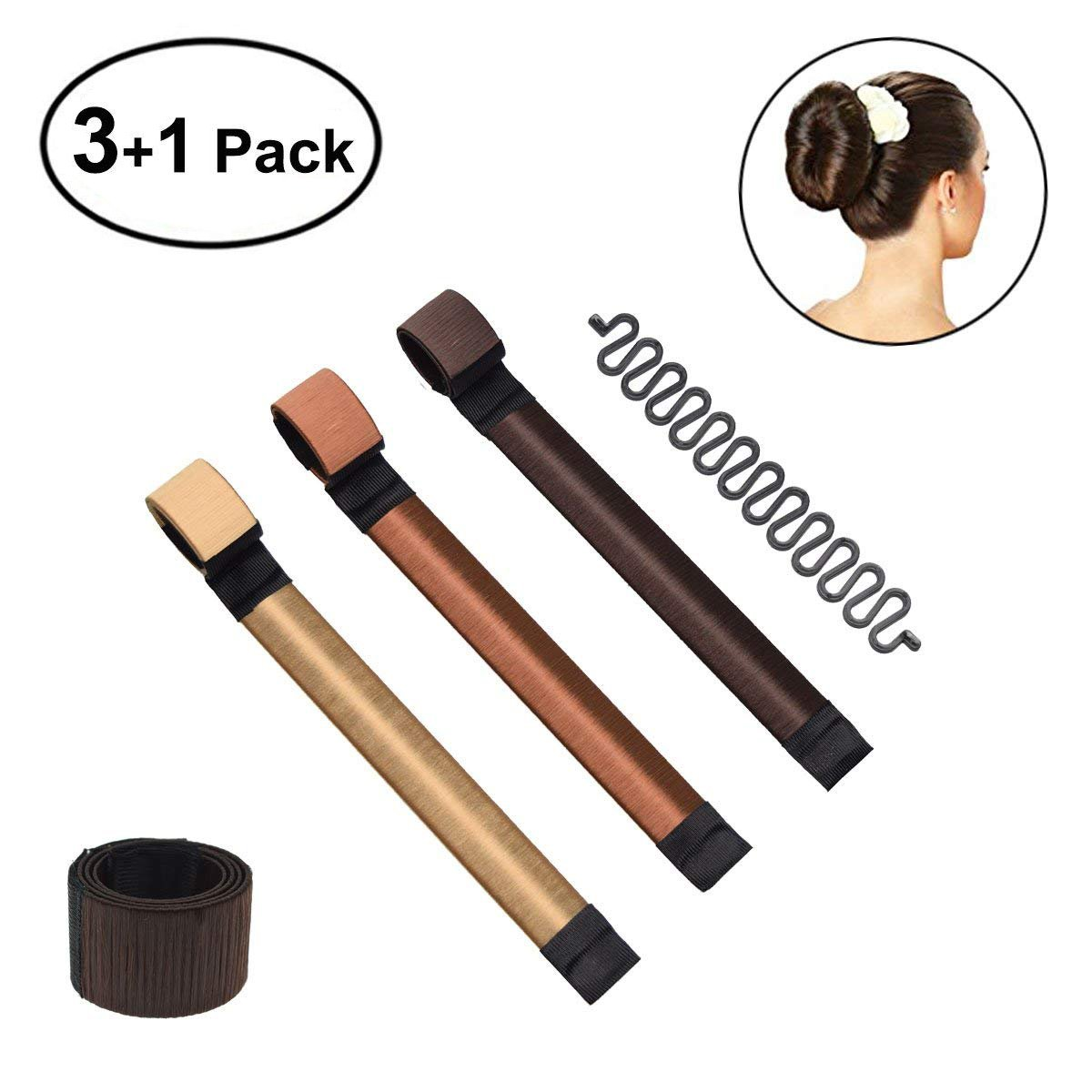 POPHEKO 3Pcs Hair Bun Maker Set, Fashion Women Girls Magic Hair Bun Maker Tool for Donut, Doughnut, Bun, French Twist (Coffee+Dark Coffee+Light Yellow) SPASS Technology Co. Ltd