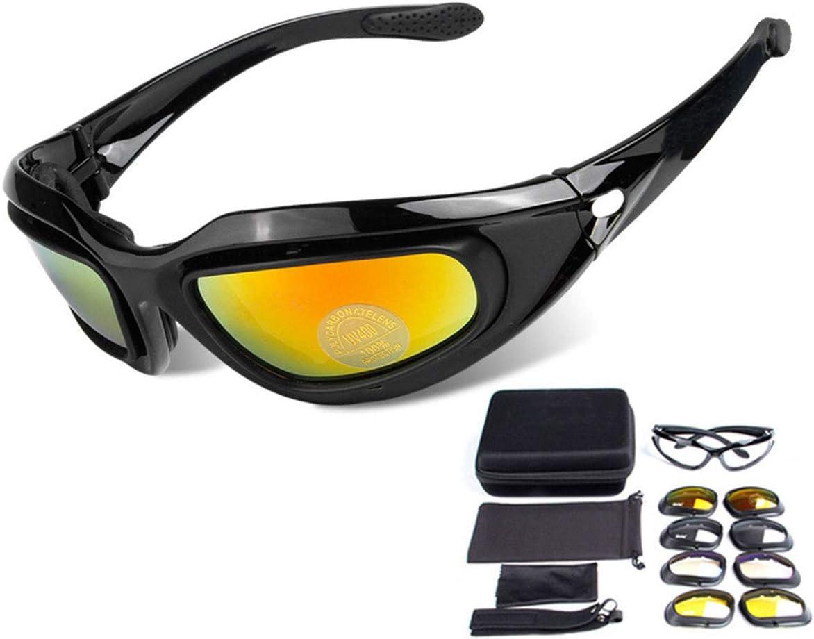ZHIYIJIA Gafas de sol deportivas acolchadas para ciclismo motocicleta Gafas de sol correa polarizadas UV 4 lentes intercambiables para bicicleta, motocross running, tiro, esquí, deportes al aire libre