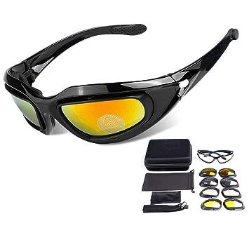 ZHIYIJIA Gafas de sol deportivas acolchadas para ciclismo motocicleta Gafas de sol correa polarizadas UV 4 lentes intercambiables para bicicleta, ...