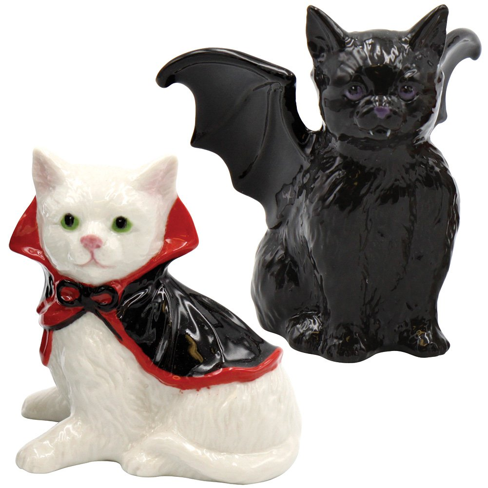 Vampire cats Salt and Pepper Shaker Set: Ceramic Halloween Collectible