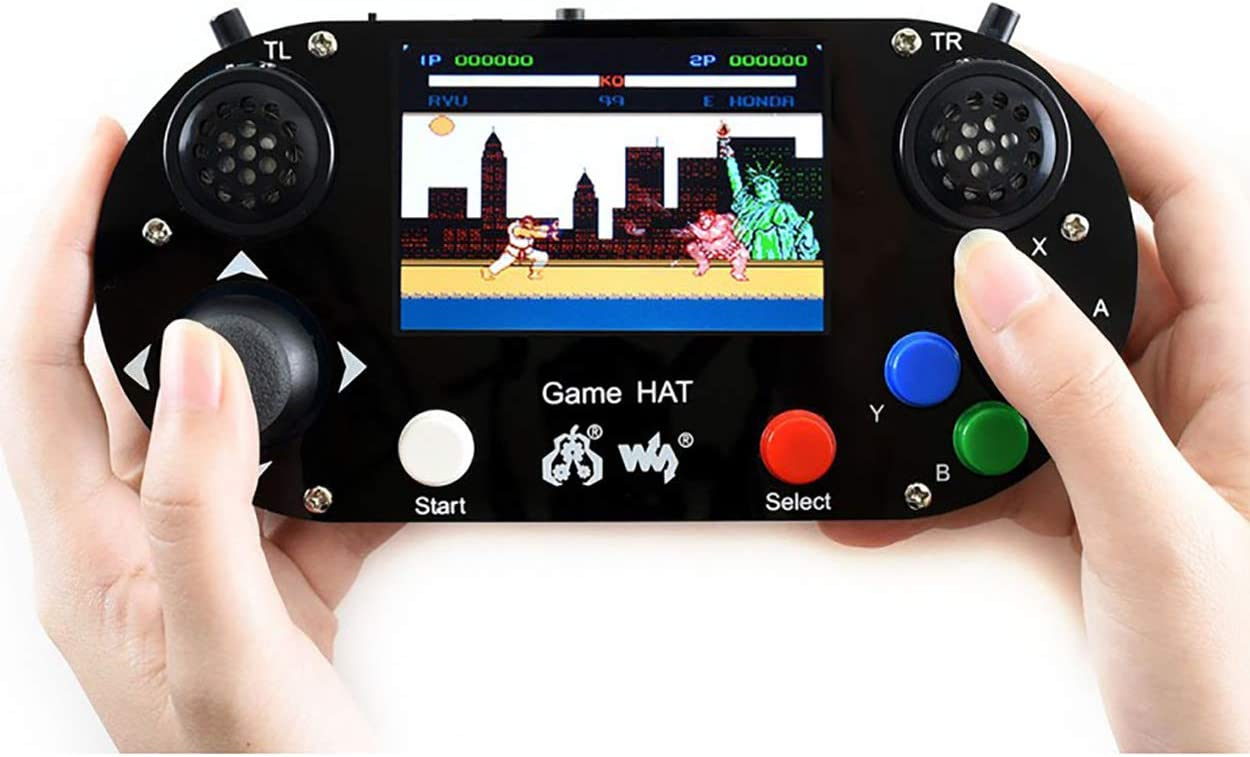 Game HAT with 480x320 3.5inch IPS Screen 60 Frame Make Your Own Classic Game Console Support Raspberry Pi A+//B+//2B//3B//3B+//Zero W Onboard Speaker and Earphone Jack