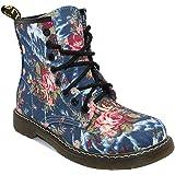 Daytwork Zapatos Mujeres Cordones - Moda Motocicleta Oxford Clásico Damas Media Pierna Flores Estampado Floral…