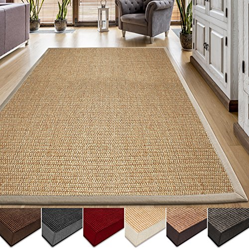 casa pura area rug sisal nonslip rug for living room or bedroom 100 natural fiber carpet 2 sizes beige 6u0027 x 9u0027