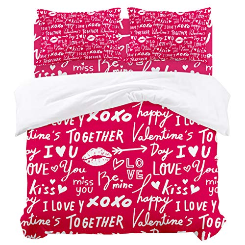 - Duvet Cover Sets - Happy Valentine's Day Lovers Quote Crimson 4 Piece King Bedding Sets Soft Microfiber Bedspread Comforter Cover and Pillow Shams for Adult/Children/Teens