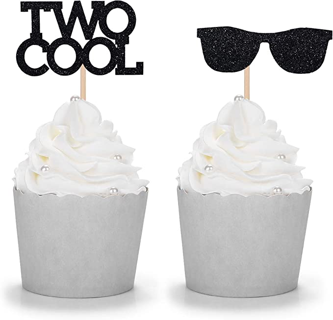 12 pcs sunglasses cupcake topper birthday baby shower boy little man mr wonderful onederful two cool cool dude