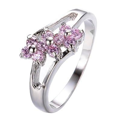 Amazon ff ring cute pink flower rings silver filled wedding ff ring cute pink flower rings silver filled wedding engagement rings for women bridal rings mightylinksfo