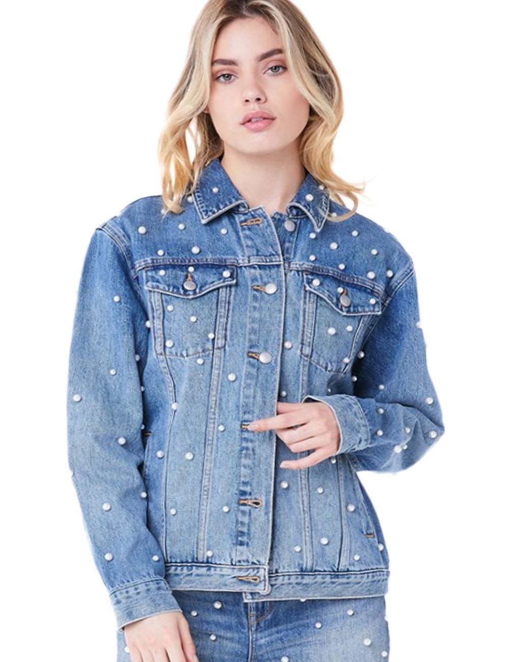 Innifer Women's Boyfriend Pearl Beaded Oversized Trucker Blue Denim Jacket Coat