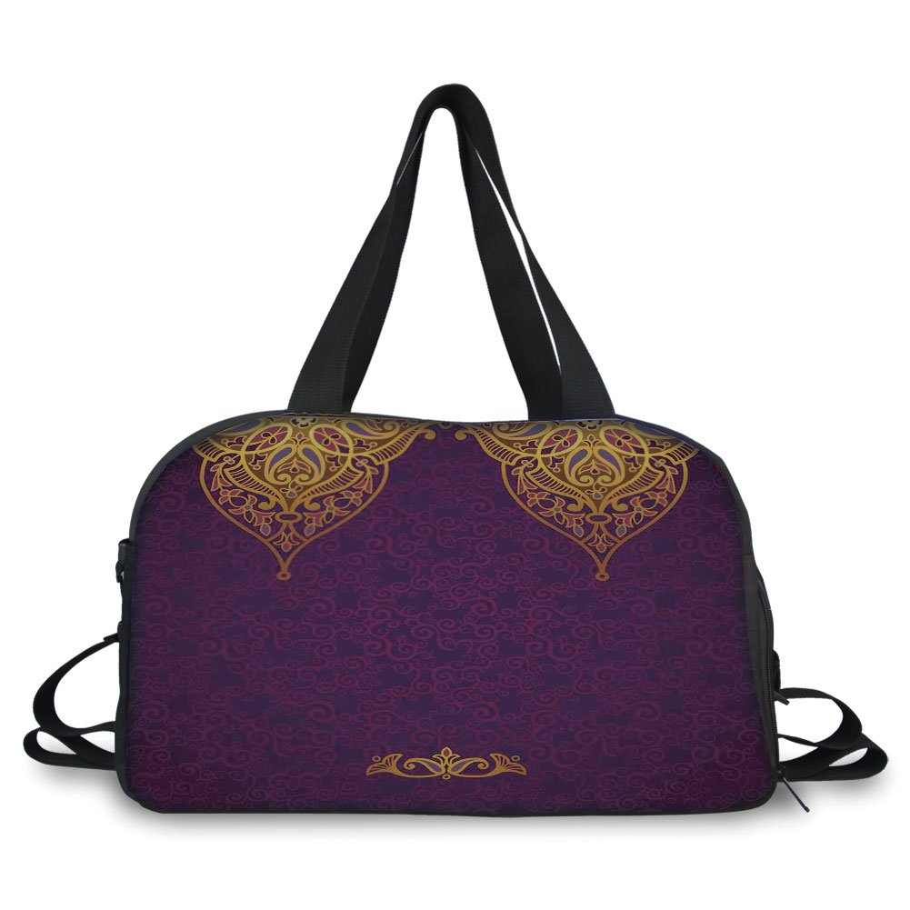iPrint Travelling bag,Purple,Eastern Oriental Royal Palace Patterns with Bohemian Style Art Traditional Wedding,Purple Gold ,Personalized