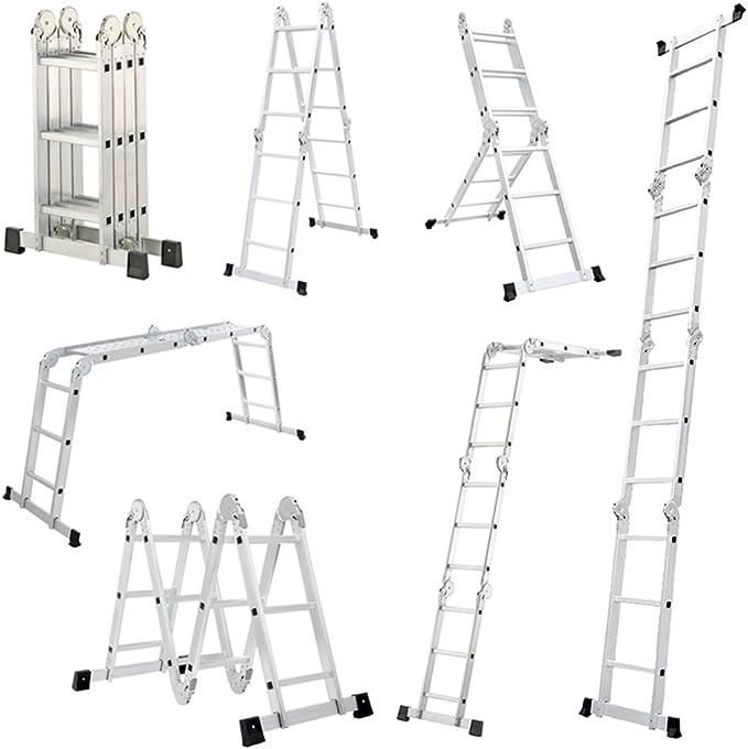 Escalera Mctech®, 6 en 1, de aluminio, telescópica, 340/470 cm, multiusos, con articulaciones regulables, para andamio de trabajo, 4X3 Stufen mit plattform: Amazon.es: Deportes y aire libre