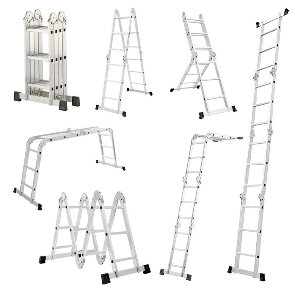 Mctech® 6in 1Ladder 340 / 470cm Adjustable Multi-Purpose Aluminium Folding Ladder Articulated Ladder Stepladder Scaffold Ladder Work Platform 4X3 Stufen mit plattform