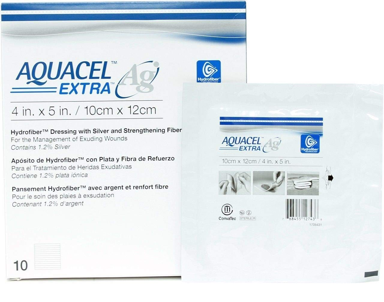 Aquacel Ag Absorbent Dressing with Hydrofiber (4''''x5'''') (by the Each) by Aquacel