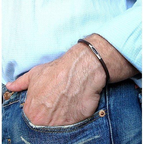 bbe8274a1292 Amazon.com  Leather Bracelet for Men - Men s Classic Bracelet - Gift ...