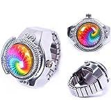 Eachbid Smart applied Round Child Lady Steel Rainbow Pattern Elastic Quartz Finger Ring Watch Gift
