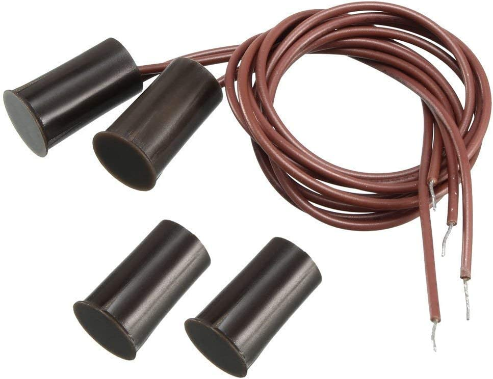 uxcell encastr/é Contact de porte fen/être d/étecteur dalarme magn/étique Reed Switch NC Brown 2pcs marron
