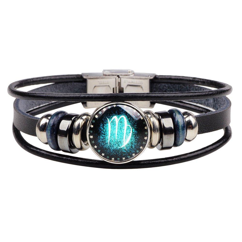 CHUYUN Retro 12 Zodiac Constellation Beaded Hand Woven Leather Bracelet Punk Chain Cuff (Virgo)