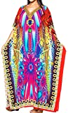 LA LEELA Soft Fabric Digital HD Print Boho Dress Ladies OSFM 14-22 [L-3X] Multicolor_3572