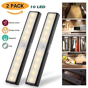 Bon Wireless Motion Sensor Cabinet Light Wardrobe Closet Lights,USB  Rechargeable 10 LED Cabinet Lighting,