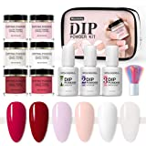 Rosydream Dipping Powder Set Nail Polish Set Primer Sealing Layer Desiccant Nail Starter Kit Dip Powder System Nail Glitter Shiny Nail Art Powder for Nails Daily Care Beautifying