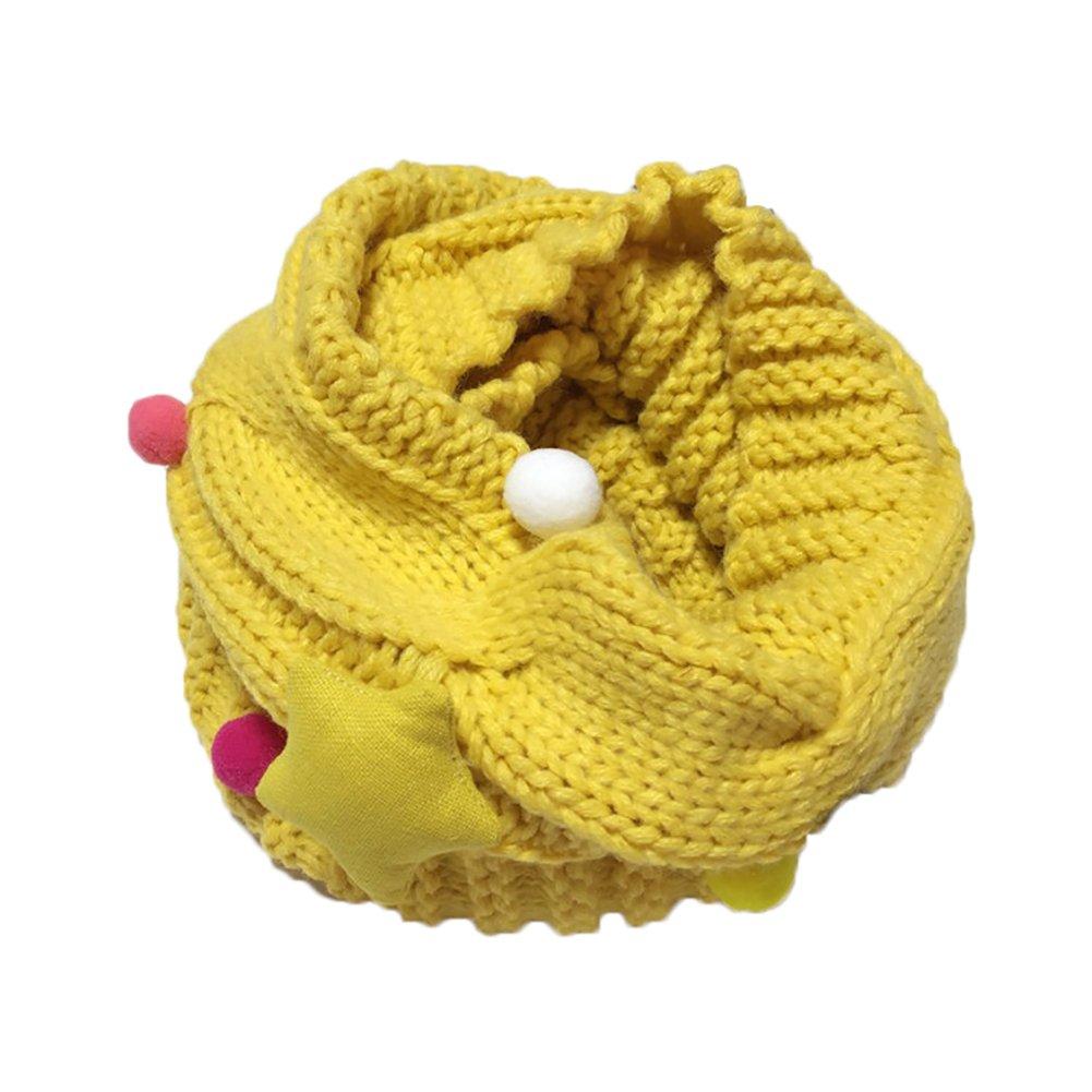 Tangbasi® sciarpa bambino ragazzi ragazze inverno scaldacollo lavorato a maglia per bambini o anello collo sciarpa silenziatori giallo Yellow taglia unica