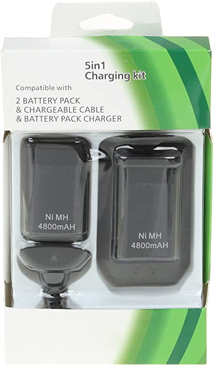 Generic 5-in-1 Charging Kit for Xbox 360 Slim Black