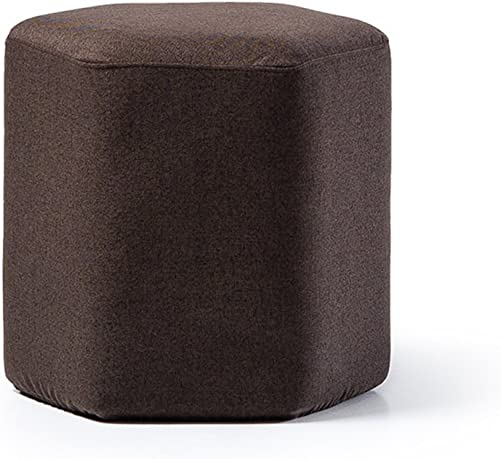 ZEMIN Ottomans Footstool Sofa Stool Chair Seat Table Backrest Soft Solid Wood Frame Storage, 7 Colors Available, 42x42x40CM Color Brown