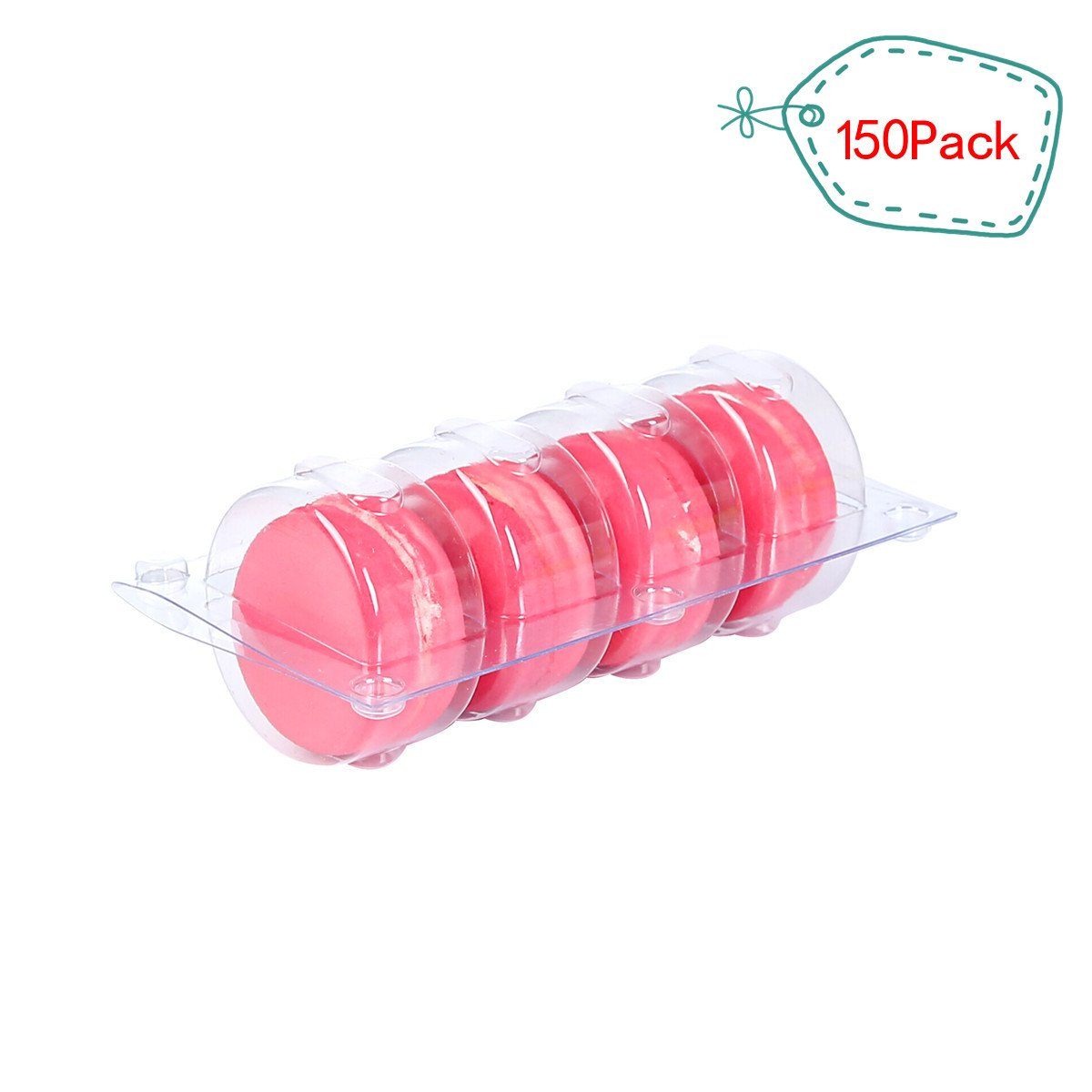 Plastic Clear Macaron Insert With Clip Closure Holds 4 Macarons (Case of 150 Sets)