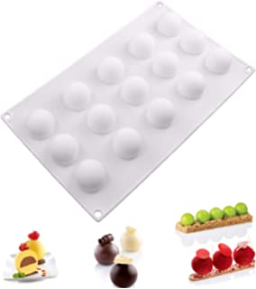 Easy Release 2pcs Silicone Mousse Cake Molds 3D Geometric Chocolate Mold Mini Round Cream DIY Baking Pan Nonstick Bakeware Decorating Tool for Ice Chiffon Dessert Jelly Pastry Christmas