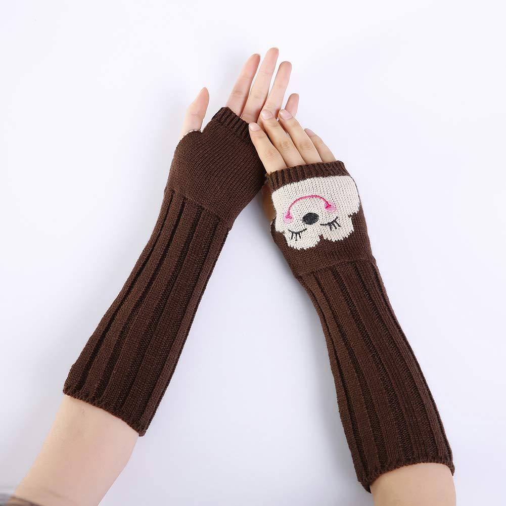 Ouken 1 par mujeres punto guante largo niña pulgar agujero guantes ...