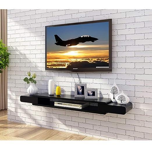 NYDZ Armazón de Pared Flotante Negro Gabinete para TV Estante para TV Estante para televisor Estante para Consola de TV Unidad de Almacenamiento Estructura para Bastidor de DVD Caja para Cable: Amazon.es: