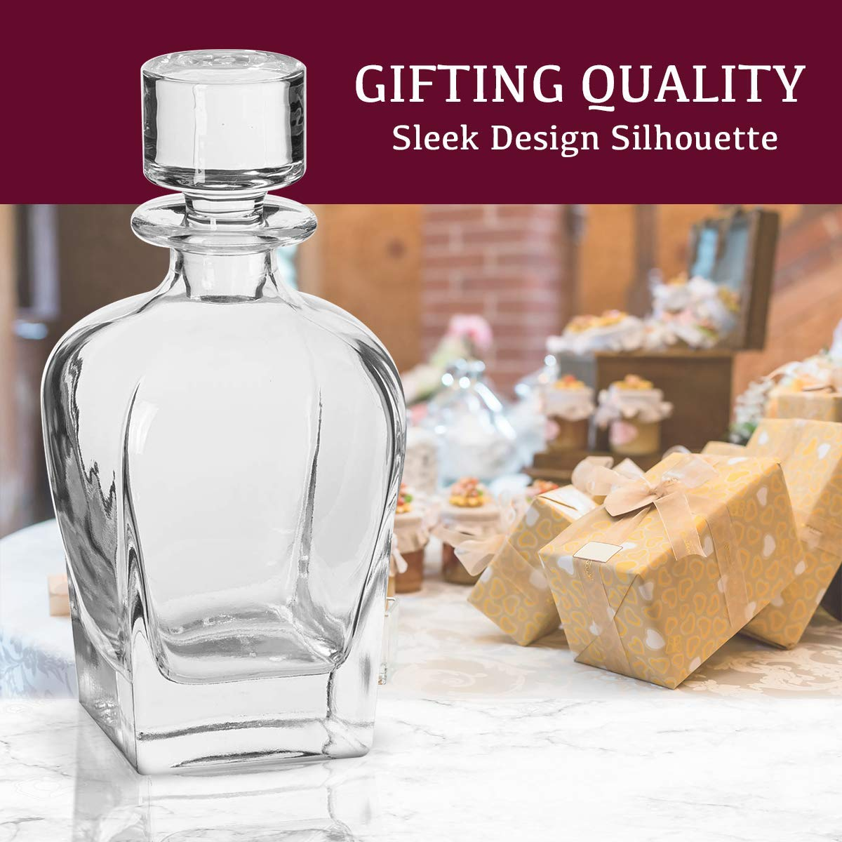 Square Design Coordinates Wine Decanter With Double Old Fashioned Glass Made From Lead Free Glass Barware Includes 1 Decanter And 4 Glasses Trinkware Meriden Whiskey Decanter And Glass Set
