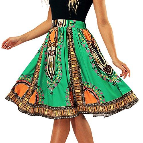 Vert Jupe Tribu Jupe Femme Imprime Haute Midi Line Ethnique Plisse Jupe A t Taille Passion 6ZZ5pwxqA