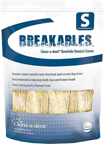CEVA Animal Health Breakables Clenz-A-Dent Rawhide Dental Chews, 15Ct Small