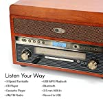 1byone Nostalgic Wooden Turntable Wireless Vinyl Record Player with AM, FM, CD, MP3 Recording to USB, AUX Input for… 7