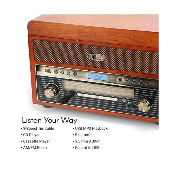 1byone Nostalgic Wooden Turntable Wireless Vinyl Record Player with AM, FM, CD, MP3 Recording to USB, AUX Input for… 4