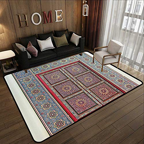 Bathroom mats and Rugs,Moroccan Decor Collection,A Magnificent Moroccan Traditional Ancient Door Gate Brass Historic Handicraft Image,Blue Cora 78.7