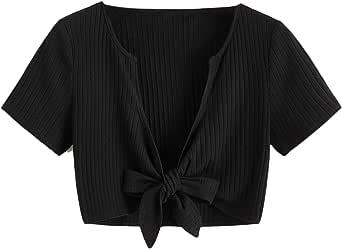Floerns Women's V Neck Solid Short Sleeve Ruffle Trim Tie Front Crop Top Tee