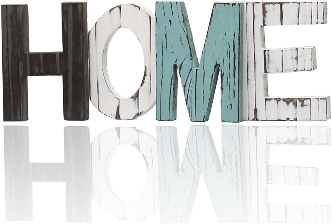 Wood Home Decorative Sign Wall Pediments Decorative Word Signs Freestanding Cutout Word Table Decor Centerpiece Standing Cutout Word Decor(Rustic)