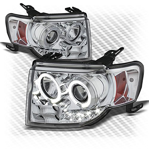 For 2008-2012 Escape Chrome Dual Halo DRL LED Projector Headlights Front Lamps Pair Left+Right/2009 2010 2011 (Dual Halo Projector Headlights Lamps)