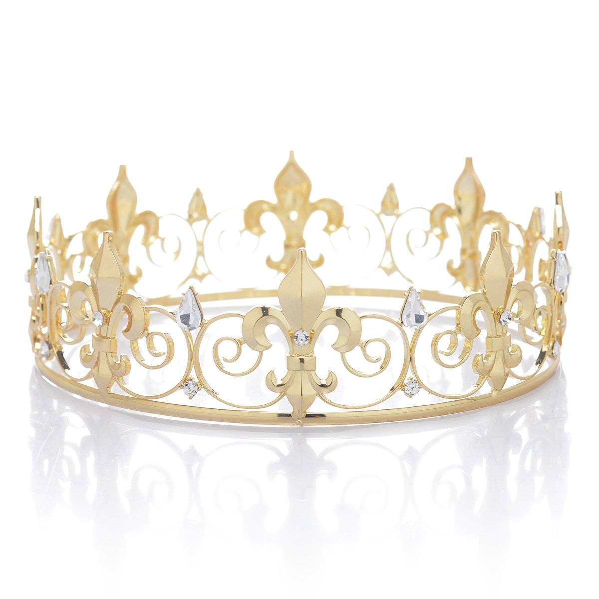 SWEETV Royal Full King Crown - Metal Crowns and Tiaras for Men Prom King Party Hats Costume Accessories, Gold by SWEETV