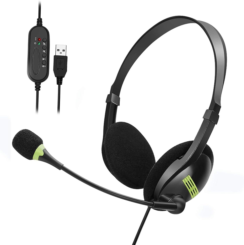 Afaneep USB Auriculares con Micrófono, USB Auriculares con Cable Sonido Estéreo y Micrófono USB con Supresión de Ruido Cascos Business UC para Skype, Softphone, Centros de Llamadas
