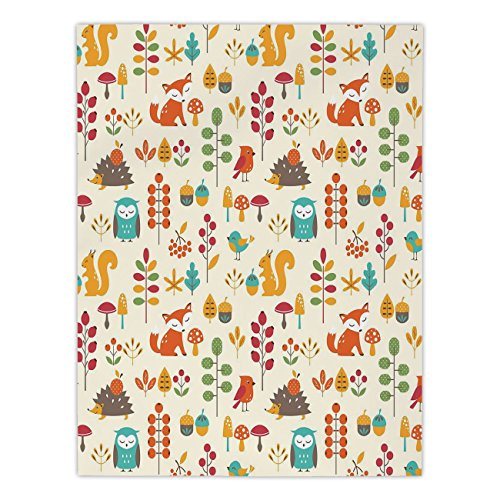 Polyester Rectangular Tablecloth,Children,Cute Kids Autumn Pattern with Owl Fox Squirrel Birds Animal Leaves Artsy Print,Multicolor,Dining Room Kitchen Picnic Table Cloth Cover,for Outdoor Indoor - Squirrel Proof Bird Table