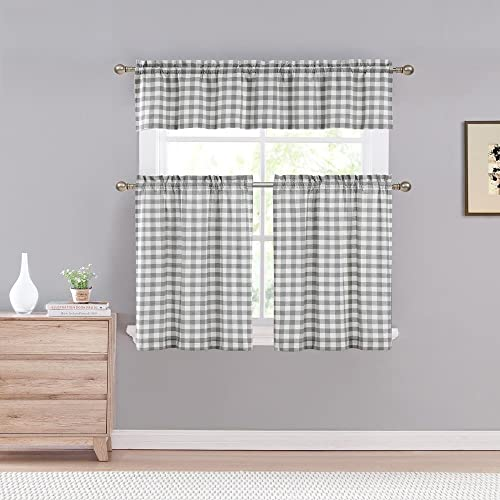Home Maison Kingston Plaid Gingham Checkered Cotton Blend Kitchen 3 Piece Window Curtain Tier Valance Set, 2 29 x 36 One 58 x 15, Grey