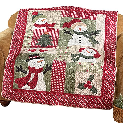 Country Snowman Patchwork Throw