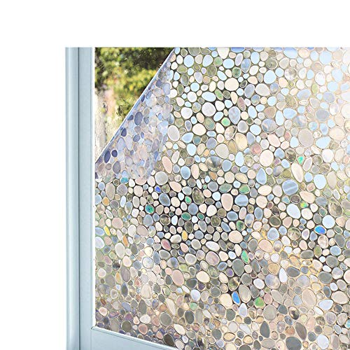 (Bloss Glass Window Film No Glue Privacy Window Cling 3D Pebble Decal Glass Stickers for Doors, Cabinet, Bathroom 17.7'' by)