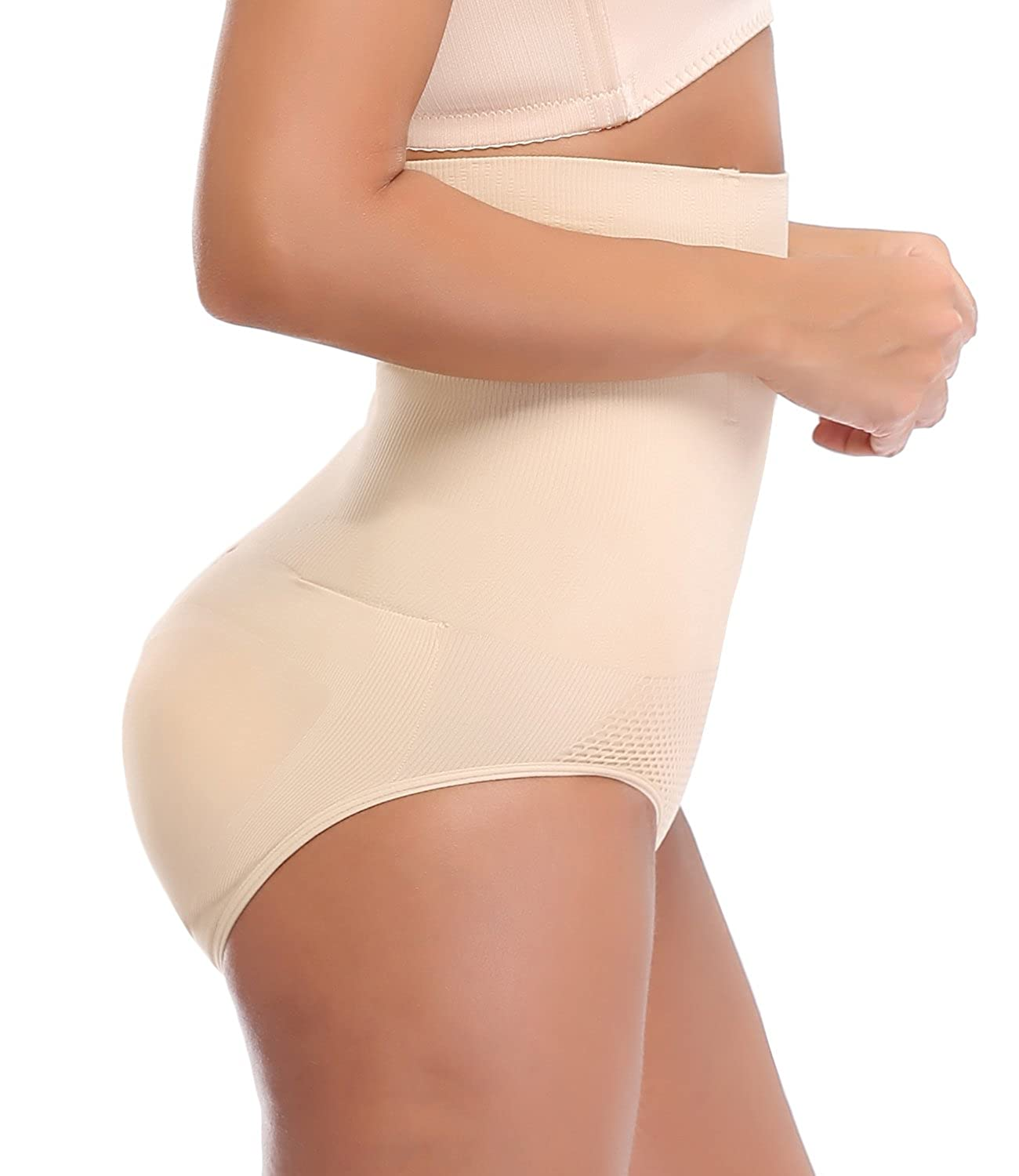 NINGMI Women Butt Lifter Padded Hip Enhancer Hi-Waist Control Panties Shapewear NMSF5617CA
