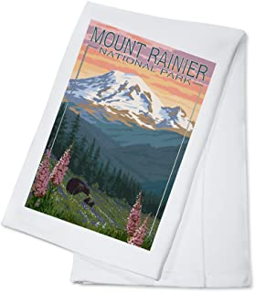 product image for Mount Rainier National Park, Washington - Bear and Cubs with Flowers (100% Cotton Kitchen Towel)