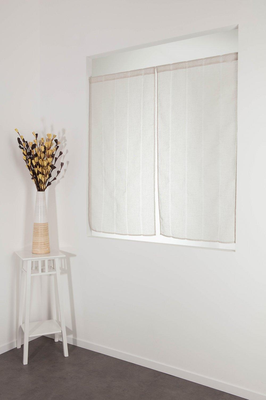 RideauDiscount Paire Voilages Vitrages 60 x 120 cm Passe Tringle Tissu Léger Effet Gaze de Lin à Rayures Verticales Style Naturel Ecru