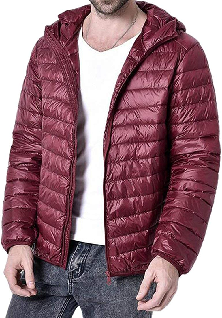 MK988 Mens Zip-Up Hooded Lightweight Winter Down Coat Warm Jacket Outerwear