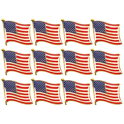 Juvale American Flag Lapel Pins - 12-Pack USA Lapel Pins, US Flag Pins for Patriotic Display ()